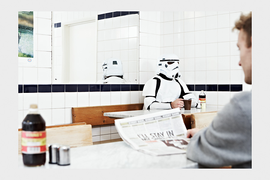 Jon Day Photography. Storm Trooper in greasy spoon.